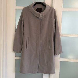 Tahari dove gray wool cashmere blend coat.